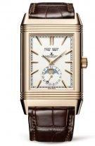 Мужские классические часы Jaeger Le Coultre Reverso 391 24 20 в розовом золоте с календарем и временем второго часового пояса, с двумя циферблатами: антрацидный и серебристый, коричневый браслет.