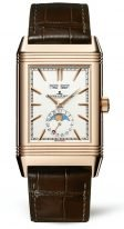 Мужские классические прямоугольные часы Jaeger Le Coultre Reverso-3912420 в розовом золоте, годовой календарь с фазами Луны, время второго часового пояса, коричневый кроко.