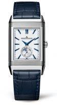 Мужские классические прямоугольные часы Jaeger Le Coultre Reverso-3958420 в стальном корпусе, годовой календарь с фазами Луны и временем второго часового пояса, два циферблата, синий ремешок