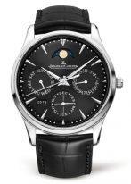 """Мужские классические часы Jaeger Le Coultre Master 130 84 70 в стальном корпусе, вечный календарь с фазами Луны, черный циферблат """"солнечные лучи"""", черный ремешок кроко."""