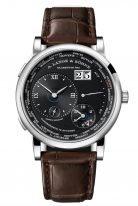 Мужские классические часы Lange Sohne Lange1 136 029 в корпусе из белого золота, время в 24х часовых поясах, большая дата, указатель день/ночь, черный циферблат, кожа кроко.