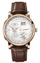 Мужские классические часы Lange Sohne Lange1 136 032 в корпусе из розового золота, время в 24х часовых поясах, указатель день/ночь, большая дата, светлый циферблат, кожа кроко.