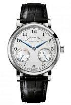 Мужские классические часы Lange&Sohne 1815- 234 026 с запасом хода в белом золоте на черном ремешке.