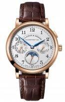 Мужские классические часы Lange&Sohne 1815 Annual Calendar- 238 032 годовой календарь в розовом золоте со светлым циферблатом на коричневом ремешке
