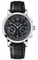 Мужские классические часы Lange&Sohne 1815 Chronograph- 414 028 в белом золоте с черным циферблатом и черным ремешком.
