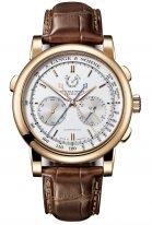 Мужские классические часы LLange&Sohne Saxonia Double Split- 404 032 сплит-хронограф в розовом золоте со светлым циферблатом на коричневой коже кроко