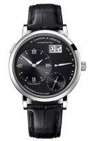 Мужские классические часы Lange Sohne Lange1 117 028 в белом золоте, большая дата, запас хода, черный циферблат, черная кожа кроко.