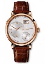 Мужские классические часы Lange Sohne Lange1 117 032 в розовом золоте, большая дата, запас хода, серебристый циферблат, ремешок кроко.
