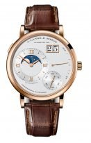 Мужские классические часы Lange Sohne Lange1 139 032 в розовом золоте, большая дата, запас хода и фазы Луны, серебристый циферблат, кожа кроко.