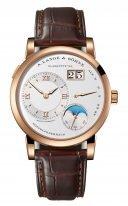 Мужские классические часы Lange&Sohne Lange1 Moon Phase- 192 032 в розовом золоте с фазой Луны на коричневом ремешке