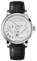 """Мужские классические часы Lange Sohne Richard Lange 252 025 в платиновом корпусе ,часы""""регулятор"""", запас хода, светлый циферблат, черная кожа кроко."""