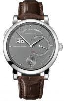 Мужские классические часы Lange Sohne Saxonia 130 039 в белом золоте с запасом хода на 31 день, серый циферблат, коричневая кожа кроко.