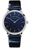 Мужские классические часы Lange Sohne Saxonia 205 086 в белом золоте, синий циферблат, синяя кожа кроко.