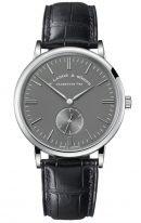 Мужские классические часы Lange Sohne Saxonia 216 027 в корпусе из белого золота, серый циферблат, черная кожа кроко.
