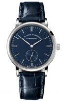 Мужские классические часы Lange Sohne Saxonia 219 028 в белом золоте, синий циферблат, синяя кожа кроко.