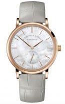 Мужские классические часы Lange Sohne Saxonia 219 043 в розовом золоте, перламутровый циферблат, белая кожа кроко.