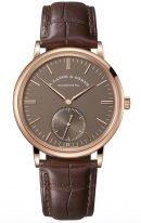 Мужские классические часы Lange Sohne Saxonia 380 042 в розовом золоте с маленькой секундной стрелкой, коричневый циферблат, коричневая кожа кроко.