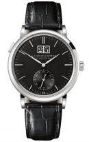 Мужские классические часы Lange Sohne Saxonia 381 029 в белом золоте с большой датой и секундной стрелкой, черный циферблат, черная кожа кроко.