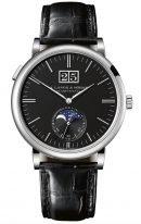 Мужские классические часы Lange Sohne Saxonia 384 029 в белом золоте с лунным календарем, большая дата, черный циферблат, черная кожа кроко.