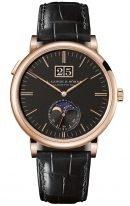 Мужские классические часы Lange Sohne Saxonia 384 031 в розовом золоте с лунным календарем, большой датой, черный циферблат, черная кожа кроко.