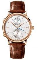 Мужские классические часы Lange&Sohne Saxonia Dual Time - 386 032 в розовом золоте со временем второго часового пояса со светлым циферблатом на коричневой коже кроко