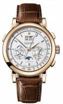 Мужские классические часы Lange&Sohne Saxonia Datogaph Perpetual- 410 032 хронограф с вечным календарем в розовом золоте со светлым циферблатом и коричневой кожей