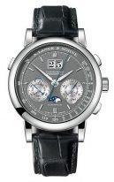 Мужские классические часы Lange&Sohne Saxonia Datogaph Perpetual- 410 038 вечный календарь с хронографом в белом золоте с серым циферблатом и черной кожей кроко