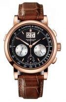 Мужские классические часы Lange&Sohne Saxonia Datograph- 405 031 с хронографом в розовом золоте с черным циферблатом и на коричневом браслете