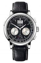 Мужские классические часы Lange&Sohne Saxonia Datograph- 405 035 хронограф в платине с черным циферблатом на черном ремешке