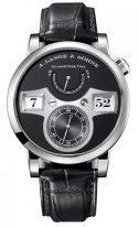 Мужские классические часы Lange&Sohne Zeitwerk- 140 029 с цифровой индикацией времени в коорусе из белого золота с черным циферблатом и черным ремешком
