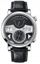 Мужские классические часы Lange Sohne Zeitwerk 145 029 с цифровой индикацией времени и боем в белом золоте, с запасом хода, черный циферблат, черная кожа кроко.