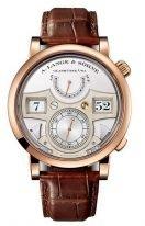 Мужские классические часы Lange&Sohne Zeitwerk Striking- 145 032 с цифровой индикацией времени и боем в корпусе из розового золота со светлым циферблатом и коричневой кожей кроко.