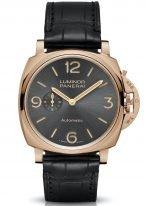 Мужские классические часы Panerai Luminor Due PAM00675 в розовом золоте, на темном лучистом циферблате арабские цифры, метки и люминесцентные стрелки, черный ремешок кроко.