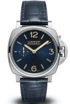 Мужские классические часы Panerai Luminor Due PAM00728 в стальном корпусе, на синем многослойном циферблате люминесцентные цифры, метки и стрелки, синий кожа кроко.