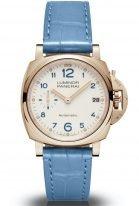 Женские наручные часы Panerai Luminor Due-PAM00756 в розовом золоте, на бежевом циферблате голубые арабские цифры, люминесцентные метки и стрелки, светло-голубой ремешок кроко.