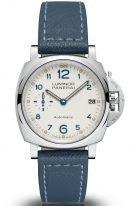 Женские наручные часы Panerai Luminor Due-PAM00903 в стальном корпусе, на белоснежном циферблате печатные арабские цифры, люминесцентные метки и стрелки, голубой телячий ремешок.