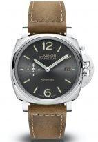 Мужские наручные часы Panerai Luminor Due-PAM00904 в стальном корпусе, на антрацитном циферблате с сатинированием арабские цифры,люминесцентные метки и стрелки, телячий коричневый ремешок.