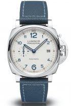 Мужские спортивные наручные часы Panerai Luminor Due-PAM00906 в стальном корпусе, на циферблате цвета слоновой кости голубые арабские цифры,люминесцентные метки и стрелки, синий телячий ремешок.