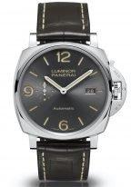 Мужские наручные часы Panerai Luminor Due-PAM00943 в стальном корпусе, на антрацитном циферблате арабские цифры,люминесцентные метки и стрелки, коричневая кожа кроко.