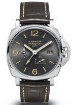 Мужские наручные часы Panerai Luminor Due-PAM00944 в стальном корпусе, на антрацитном циферблате с сатинированием арабские цифры,люминесцентные метки и стрелки, ремешок коричневая кроко.