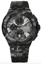 Мужские наручные часы Maurice Lacroix Aikon-AI1018_PVB02_336_1 хронограф в стальном корпусе, на черном камуфляжном циферблате счетчики хронографа, люминесцентные метки и стрелки, стальной браслет/текстильный браслет.