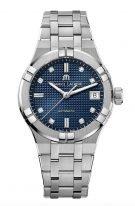 Женские наручные часы Maurice Lacroix Aikon-AI6006_SS002_450_1 с датой в стальном корпусе, на синем гильошированном циферблате бриллиантовые индексы и люминесцентные стрелки, стальной браслет.