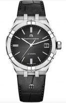 Женские наручные часы Maurice Lacroix Aikon-AI6007_SS001_330_1 с датой в стальном корпусе, на черном гильошированном циферблате люминесцентные метки и стрелки, черная кожа кроко.