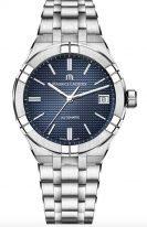 Женские наручные часы Maurice Lacroix Aikon-AI6007_SS002_430_1 с датой в стальном корпусе, на синем гильошированном циферблате люминесцентные метки и стрелки, стальной браслет.