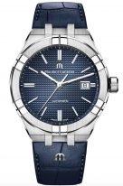 Мужские наручные часы Maurice Lacroix Aikon-AI6008_SS001_430_1 с датой в стальном корпусе, на синем гильошированном циферблате люминесцентные метки и стрелки, синяя кожа кроко.