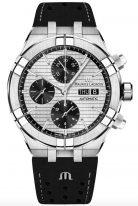 Мужские наручные часы Maurice Lacroix Aikon-AI6038_SS001_132_1 хронограф с днем недели и датой, на серебристом гильошированном циферблате черные счетчики хронографа, люминесцентные метки и стрелки, черный телячий ремешок.