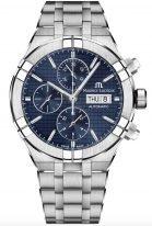 Мужские наручные часы Maurice Lacroix Aikon-AI6038_SS002_430_1 хронограф с днем недели и датой в стальном корпусе, на синем гильошированном циферблате счетчики хронографа, люминесцентные метки и стрелки, стальной браслет.