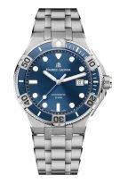 Мужские наручные часы Maurice Lacroix Aikon-AI6058_SS002_430_1 в стальном корпусе, на синем циферблате люминесцентные метки и стрелки, стальной браслет.