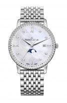 Женские наручные часы Maurice Lacroix Eliros -EL1096_SD502_170_1 с датой в стальном корпусе, на светлом перламутровом циферблате бриллиантовые индексы, тонкие стрелки, стальной браслет.