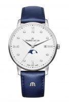 Женские наручные часы Maurice Lacroix Eliros -EL1096_SS001_150_1 с фазами Луны в стальном корпусе, на светлом перламутровом циферблате бриллиантовые индексы, тонкие стрелки, синяя кожа.